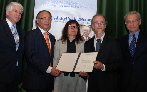 v.l. Dr. Josef Schuster, Dr. Dieter Graumann, Birgit und Horst Lohmeyer, Prof. Salomon Korn